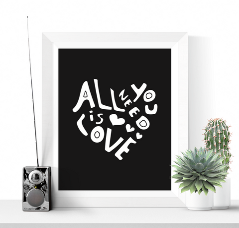 Beatles Song Quote Printable Black