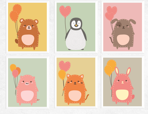 Cute Animals with Balloons Printables 6 Set