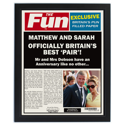 Personalised The FUN Anniversary Spoof Newspaper Framed Print