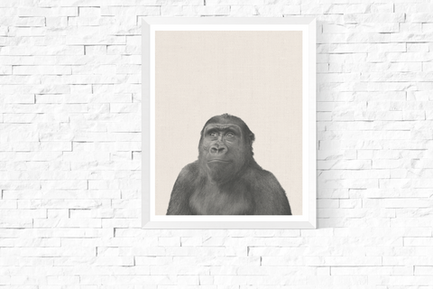 Ape Photograph Art Printable Black and White