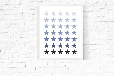 Blue Ombre Stars Art Printable