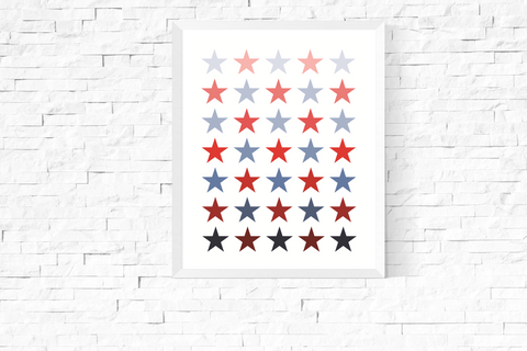 Blue and Red Ombre Stars Art Printable