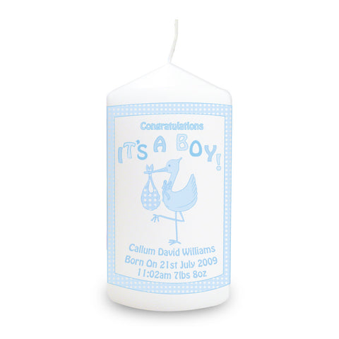 Personalised Stork It's a Boy Candle Gift