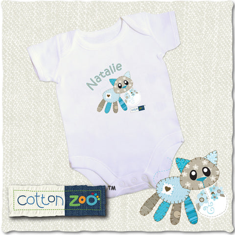 Personalised Cotton Zoo Calico The Kitten Baby Vest Gift
