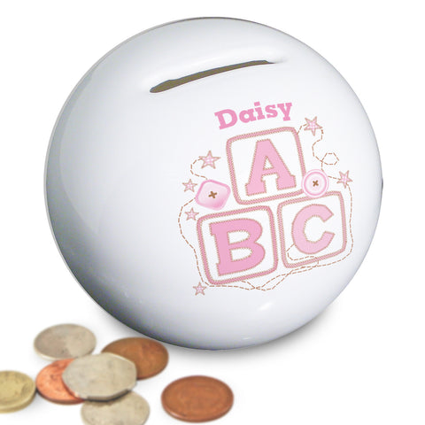 Personalised Pink ABC Money Box Gift