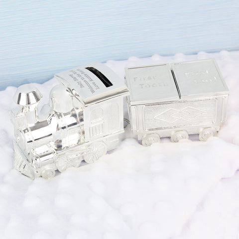 Personalised Train Money Box with Tooth and Curl Trinket Gift
