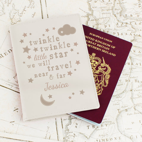 Personalised Twinkle Twinkle Passport Cover Cream