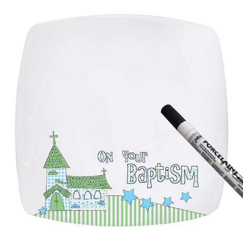 Baptism Church Message Plate in Blue