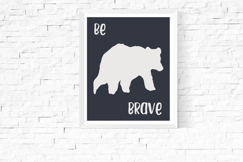 Be Brave Bear Navy Art Printable