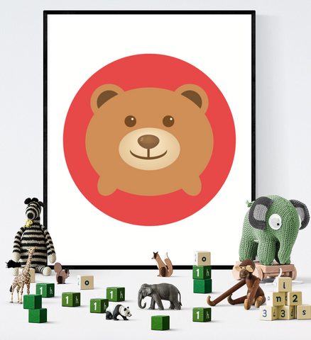 Cute Bear Woodland Animal Art Printable Kawaii Style