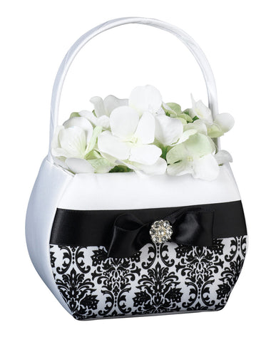 Black Damask Flower Girl Basket