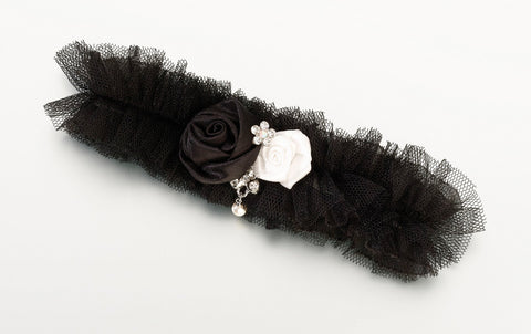 Black Flower Tulle Garter