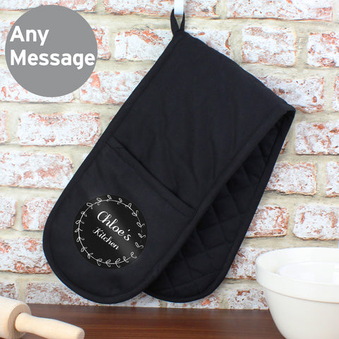 Personalised Black Oven Gloves