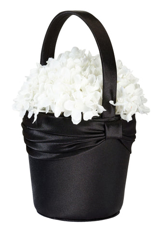Black Satin Flower Girl Basket