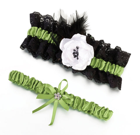 Black and Green Wedding Garters 2PK