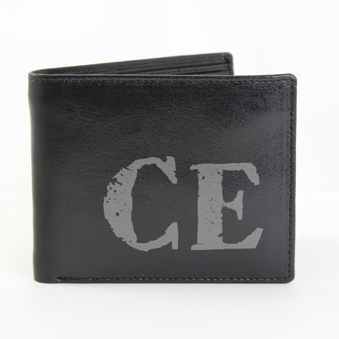 Personalised Black Rustic Initials Wallet Gift
