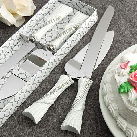 Bling Heart Wedding Cake Server Set