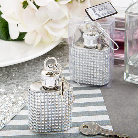 Bling Hip Flask Keyring Favours 6PK