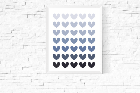 Blue Ombre Hearts Art Printable