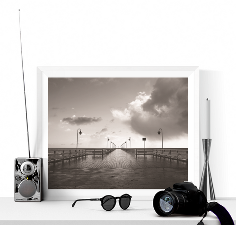 Boardwalk Black and White Photograph Printable