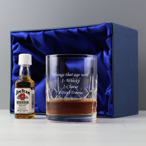 Personalised Crystal Glass and Bourbon Whisky Miniature Set