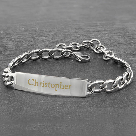 Personalised Stainless Steel Chain Bracelet