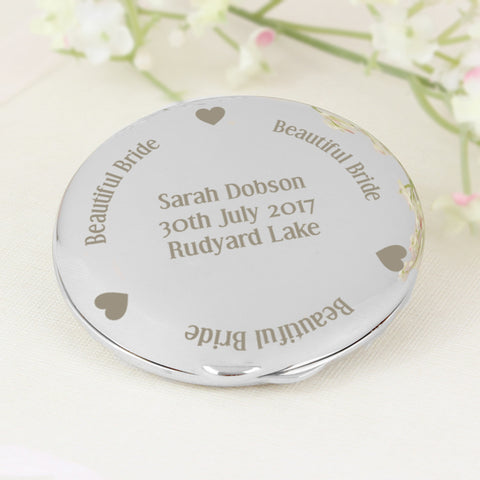 Personalised Beautiful Bride Compact Mirror Present