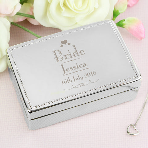 Personalised Decorative Wedding Bride Jewellery Box Gift