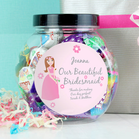 Personalised Fabulous Bridesmaid Sweet Jar Gift