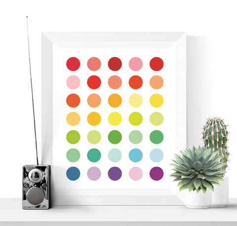 Bright Polka Dots Art Printable