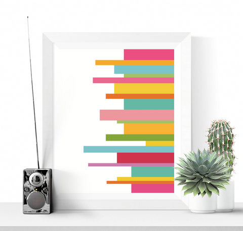 Bright Stripes Abstract Art Printable