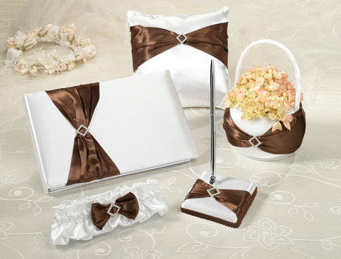 Brown Sash Wedding Accessory Set