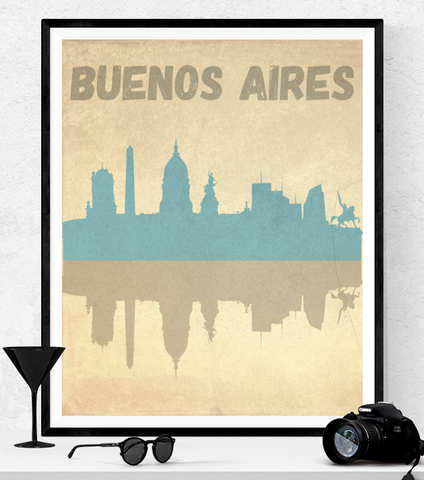 Buenos Aires Skyline Vintage Style Art Printable