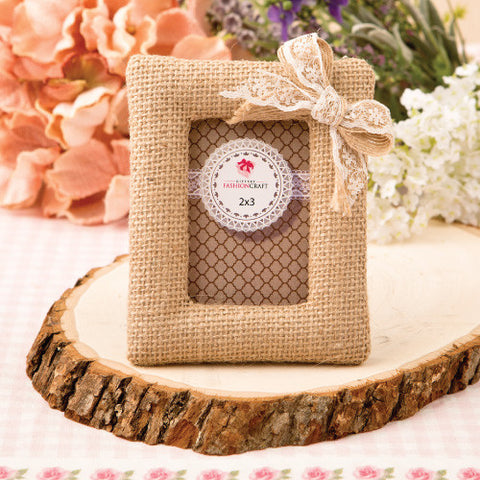 Burlap Photo Frame Favours 6PK