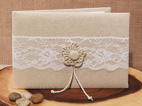 Burlap and Lace Rustic Wedding Guest Book