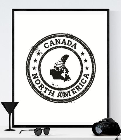 Canada Travel Stamp Art Printable
