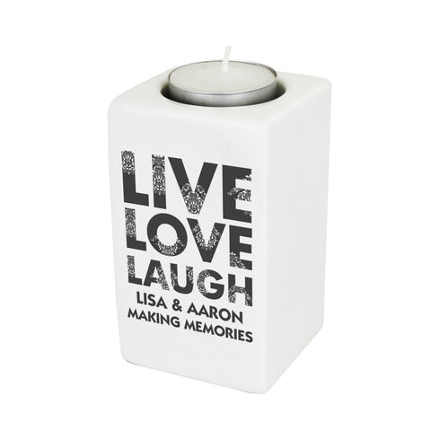 Personalised Live Love Laugh Ceramic Tea Light Candle Holder Gift
