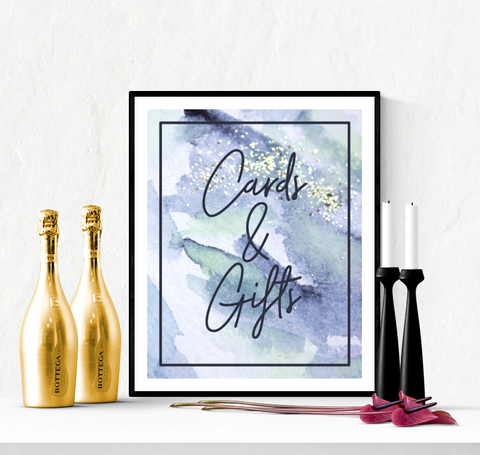 Cards and Gifts Wedding Sign Printable Blue Watercolour