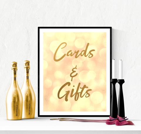 Cards and Gifts Wedding Sign Printable Gold