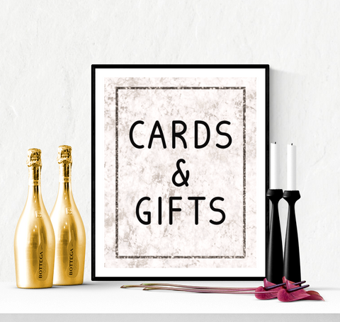 Cards and Gifts Wedding Sign Printable Marble