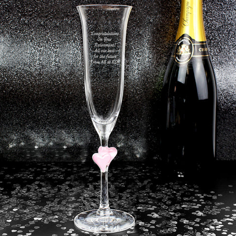 Personalised Pink Heart Champagne Flute