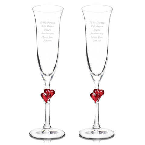 Personalised Red Heart Champagne Flutes Set of 2