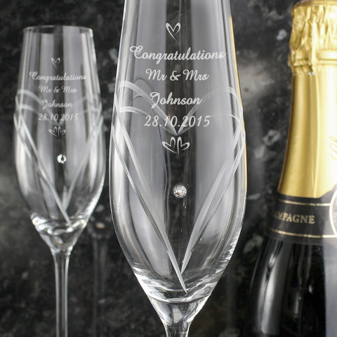 Personalised Hand Cut Pair of Diamante Flutes with Swarovski Elements Gift