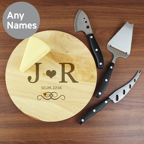 Personalised Monogram Cheese Board and Knife Set