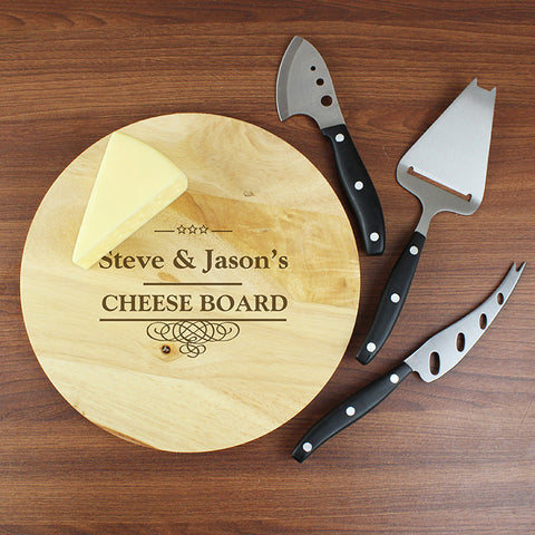 Personalised Ornate Swirl Cheese Board and Cheese Knives