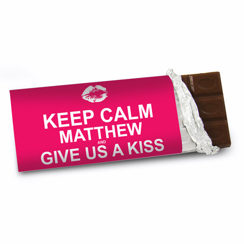 Personalised Keep Calm Give Us A Kiss Chocolate Bar Gift