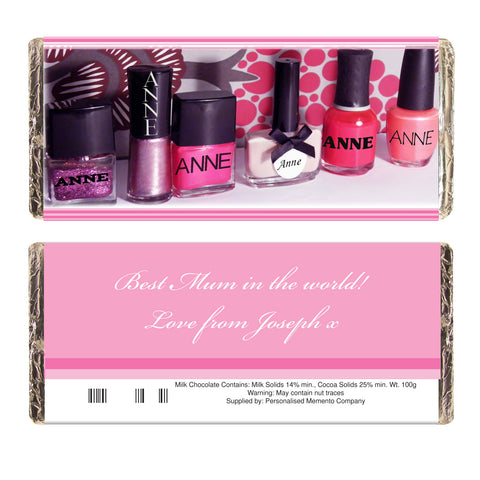 Personalised Row of Pink Polish Chocolate Bar Gift