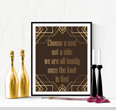 Art Deco Choose a Seat Wedding Sign