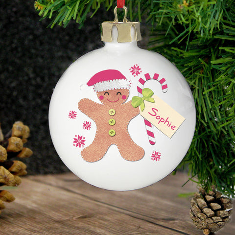 Personalised Felt Stitch Gingerbread Man Christmas Bauble