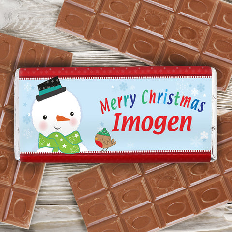 Personalised Snowman Chocolate Bar Gift